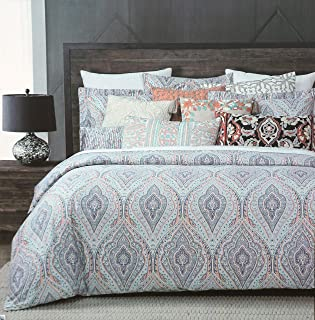 Cynthia Rowley Bedding 3 Piece Full / Queen Duvet Cover Set Ornate Print Oriental Medallions in Shades of Blue Pink Mustard Black White