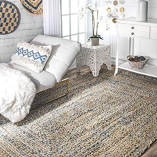 nuLOOM Eliz Alfombra de Yute Trenzado de Mano, algodón, Azul, 4' x 6'