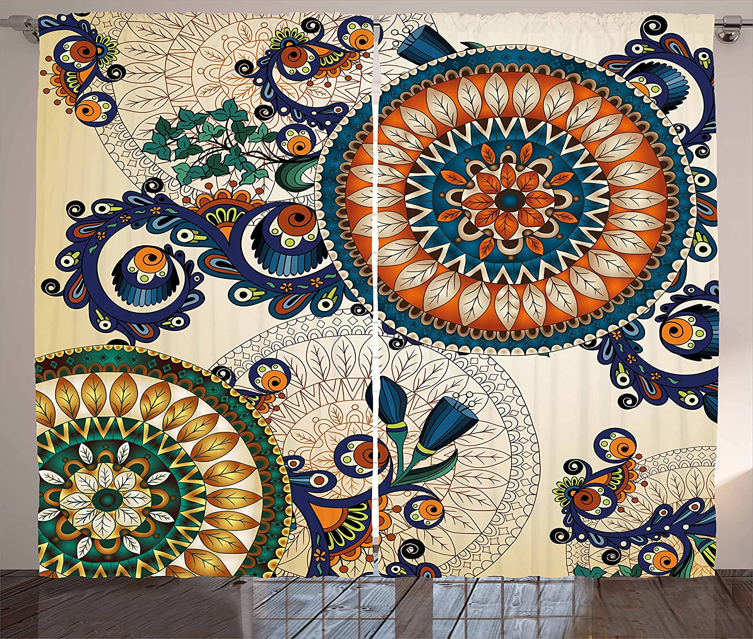 Philadelphia Mall Ambesonne Ethnic Curtains Floral Easy-to-use Boho Pattern Plant Peacock and