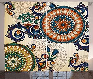 Ambesonne Ethnic Decor Curtains, Floral Arabesque Boho Pattern with Floral and Peacock Feather Figures Folk Image, Living Room Bedroom Window Drapes 2 Panel Set, 108W X 84L Inches, Multi