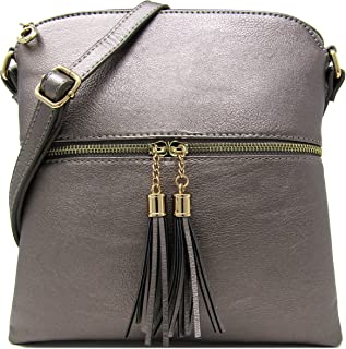 Women's Rich Faux Leather Light Weight Medium Crossbody Bag and Large Capacity Purse Organize with Adjustable Shoulder Strap