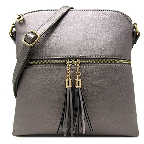 1fe58394ddc2 Women s Rich Faux Leather Light Weight Medium Crossbody Bag and Large  Capacity Purse Organize with Adjustable