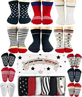 Tiny Captain Toddler Boys Socks 1-3 Year Old Baby Grip Sock Gift 8-24 Months 6 Anti Slip Pairs,Set (Red, Black, White)