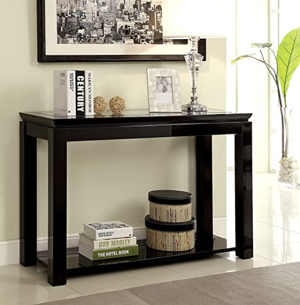 Furniture Of America Kappa Contemporary Glass Top Sofa Table Black