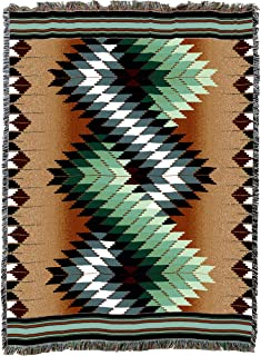 Whirlwind - Sage - X Large - Southwest Native American Inspired Tribal Camp - Cotton Woven Blanket Throw - Made in The USA...