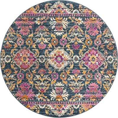"""Safavieh Madison Collection MAD130C Blue and Fuchsia Bohemian Chic Floral Round Area Rug (6'7"""" Diameter)"""