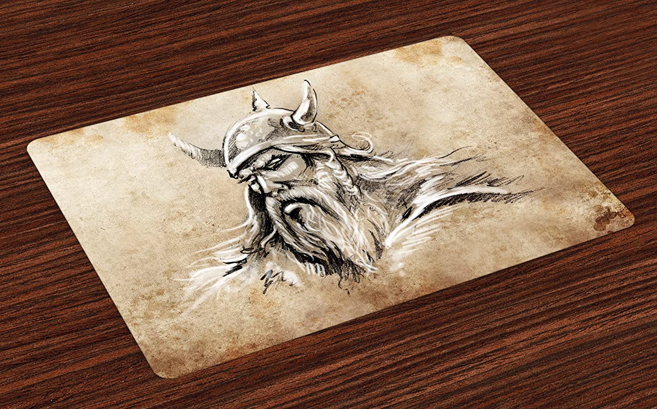 Lunarable Viking Place Mats Set Of 4 Sketch Style Scandinavian Warrior With Beard And Hat Masculine Portrait Tattoo Washable Fabric Placemats For Dining Room Kitchen Table Decor Beige Tan