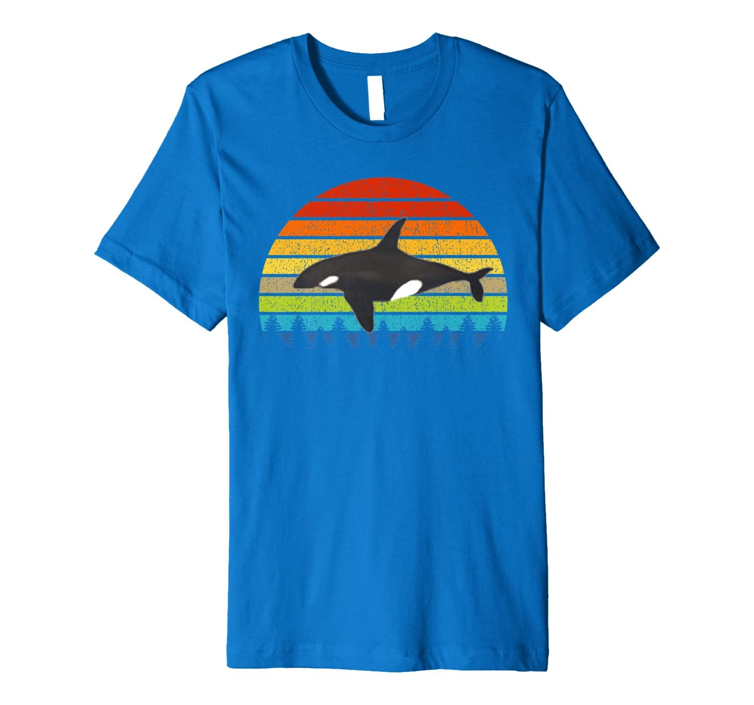 Orca Lovers Gift Retro Vintage Animal American Orca Whale Premium T-Shirt-ANZ