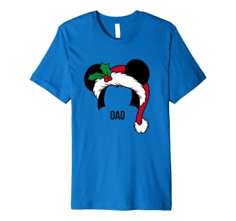 a0638428 Mens Disney Mickey Mouse Ears Santa Hat DAD Holiday T-Shirt: Amazon.co.uk:  Clothing
