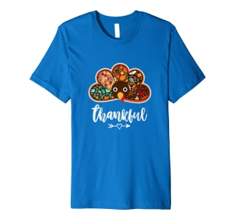 9e176007c46 Image Unavailable. Image not available for. Color  Thanksgiving Day Turkey  Face Feathers Thankful Blessed Shirt