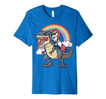2f4fcee3ebc5f Amazon.com: Unicorn Riding Dinosaur T rex Shirt Boys Girls Kids Rainbow:  Clothing