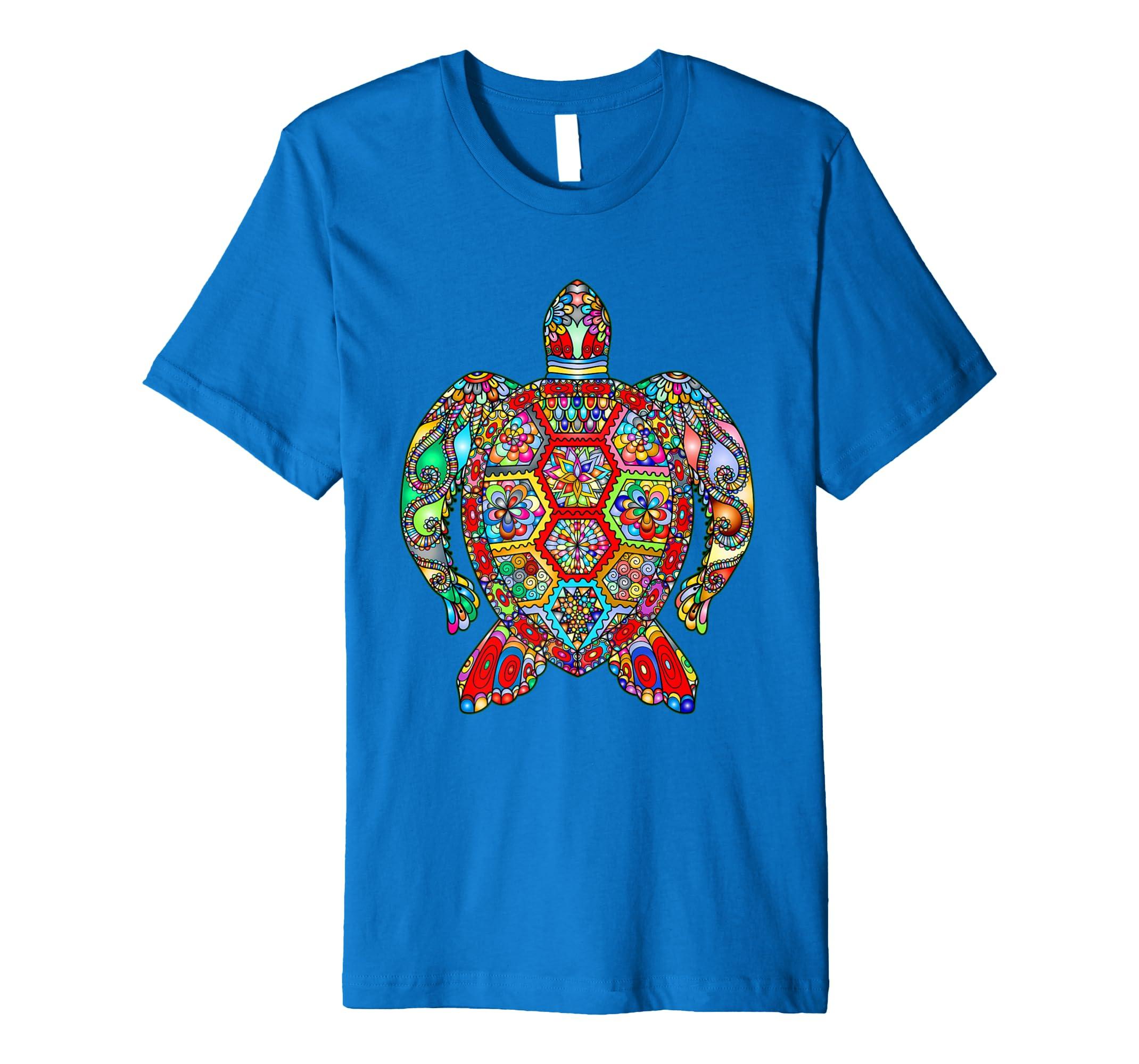 0a6c71fcb17 Sea Turtle Mandala Vibrant Art Ocean Life Print T-Shirt