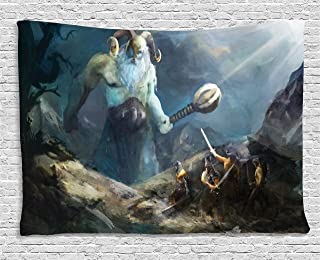 Lunarable Viking Tapestry, Heroes of Valhalla with Mythological Frost Giant Norse Culture Watercolor Design, Wide Wall Hanging for Bedroom Living Room Dorm, 60