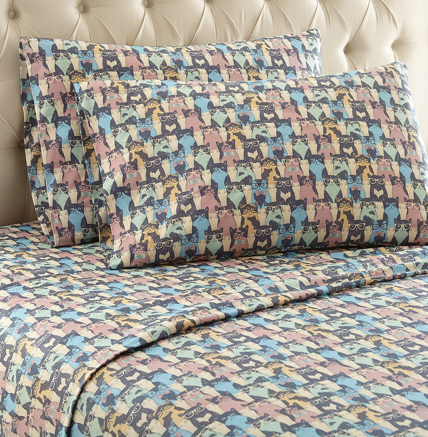 Thermee Micro Flannel Sheet Set, Twin XL, Cat Party
