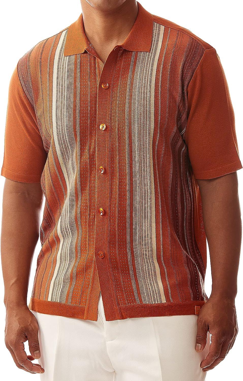 1960s Mens Shirts | 60s Mod Shirts, Hippie Shirts EDITION S Mens Short Sleeve Knit Shirt- California Rockabilly Style: Multi Stripes  AT vintagedancer.com