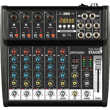 IS 2MIX6XU mixer compatto a 6 canali con registratore usb, interfaccia audio integrata e funzionalità bluetooth