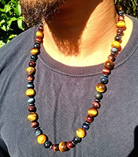 AURAS BY OSIRIS Handmade Multicolor Tiger Eye Necklace 26 Inches Natural Gemstone