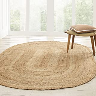 Superior Hand Woven Natural Fiber Reversible High Traffic Resistant Braided Jute Area Rug, 5' x 8' Oval