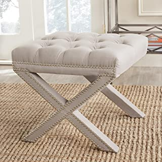 Safavieh MCR4675A Mercer Collection Patrice Ottoman, Taupe