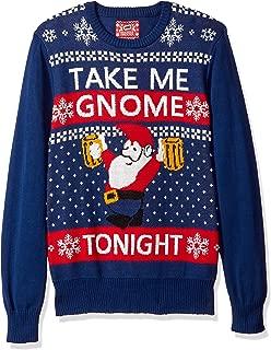 Hybrid Men's Take Me Gnome Tonight Ugly Christmas Sweater, navy, Medium