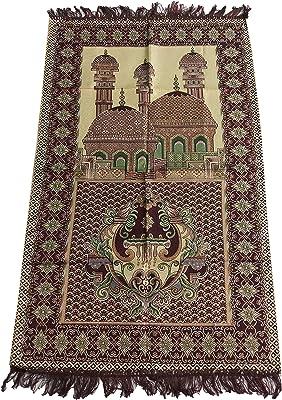 HDI Muslim Prayer Mat Lightweight Thin Istanbul Turkey Sajadah Carpet Islam Eid Ramadan Gift (Dark Brown_02)