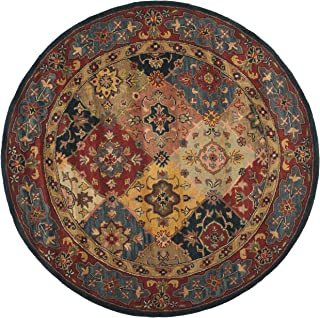 Safavieh Heritage Collection HG926A Handcrafted Traditional Oriental Red and Multi Wool Round Area Rug (10' Diameter)