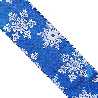 Reliant Ribbon 93039W-989-40F Lame Snowflakes Wired Edge Ribbon, 2-1/2 Inch X 10 Yards, Royal/Silver