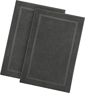 COTTON CRAFT - 2 Pack Luxury Bath Mat - Charcoal - 100% Ringspun Cotton - Oversized 21x34 - Heavy Weight 1000 Grams - 2 Ply Construction - Highly Absorbent - Soft Underfoot Easy Care Machine Wash