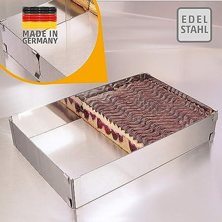 Cadre pâtisserie – Made in Germany cadre à pâtisserie rectangulaire, réglable, à fixation par pinces – moule pâtisserie rectangulaire en acier inoxydable