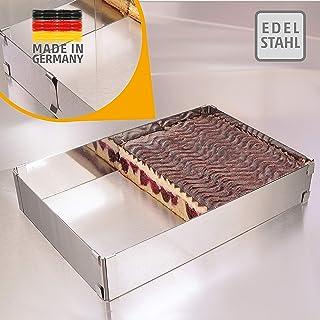 4smile Cadre pâtisserie – Made in Germany Cadre à pâtisserie rectangulaire, réglable, à Fixation par Pinces – Moule pâtiss...