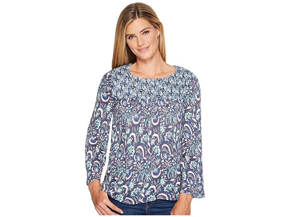 Lucky Brand Mixed Print Smocked Top (Blue Multi) Women's Long Sleeve Pullover