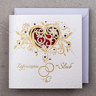Konst NUVO vigselinbjudningskort – 20 st, 135 x 135 mm, med tryckbara inslag och dekorationer för väsning – guldfolierad d...