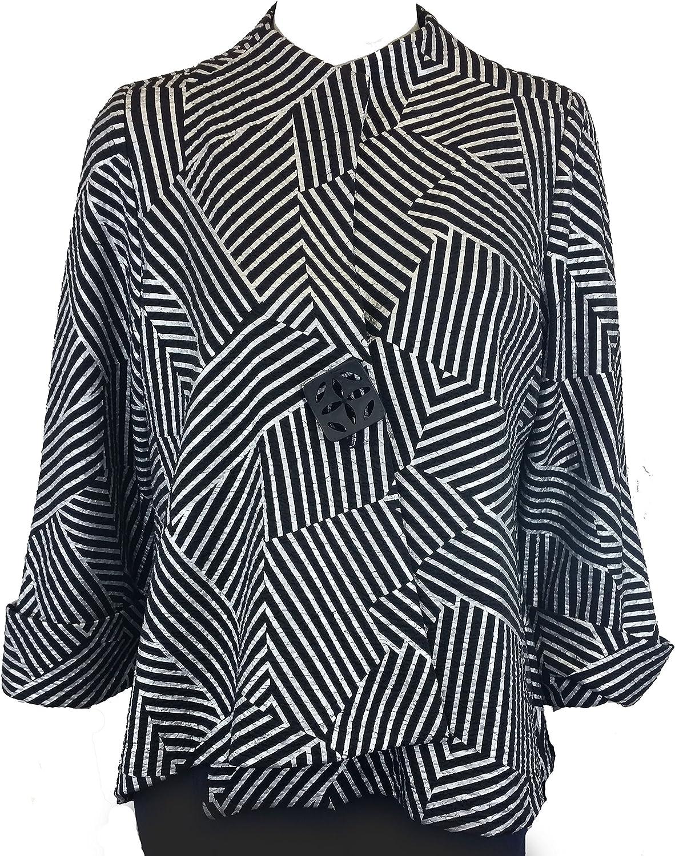 IC Collection GeoQuiz Asymmetrical Front Jacket Single Button Blazer
