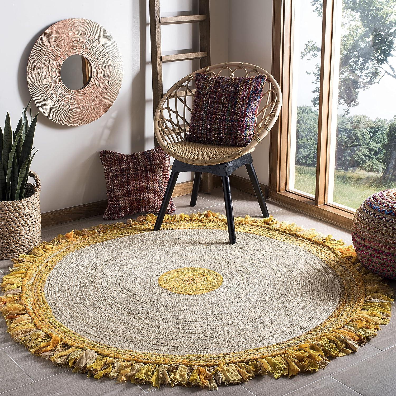 Safavieh Houston Mall Cape Cod Collection CAP212D Fringe Jute Online limited product Handmade Boho
