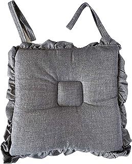 Cojín para silla con forma de cubo, juego de 4 piezas, cuadrado con volantes, color liso, 40 x 40 x 20 cm, sastrería italiana (gris)