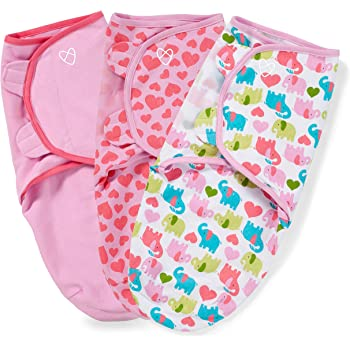SwaddleMe Original Swaddle – Size Small, 0-3 Months, 3-Pack (Elephant Hearts)
