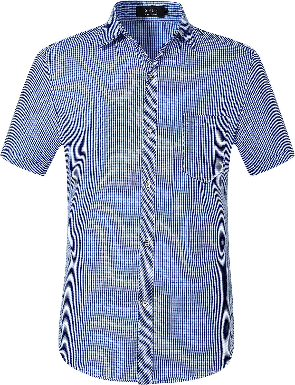 SSLR Mens Plaid Shirts Short Sleeve Button Up Shirts for Men