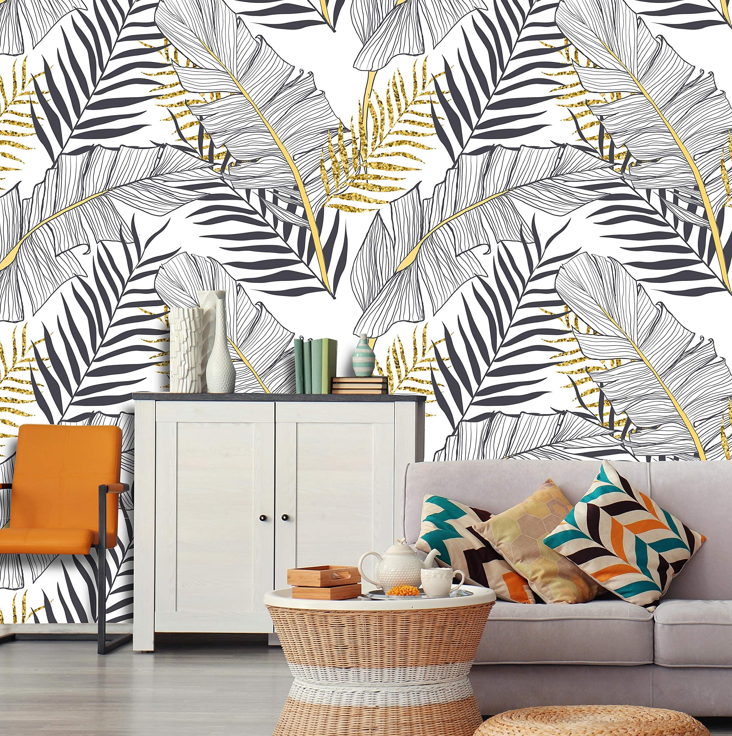 Soft Tropical Flowers Removable Wallpaper-Peel and Stick Wallpaper-Wall Mural Self Adhesive Wallpaper