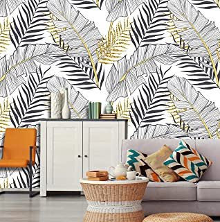 Removable Peel 'n Stick Wallpaper, Self-Adhesive Wall Mural, Watercolor Tropical Pattern, Nursery, Room Decor, Custom • Banana Gold Leaves (24