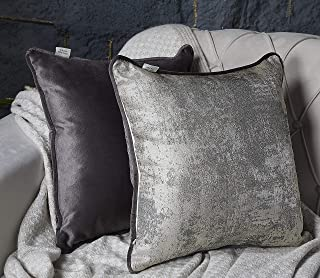 Sandiklife Decorative Throw Pillow Covers for Couch, Sofa, Bed 18x18 inch with Modern Accent, Pack of 2 (Grey, 18x18 inch)