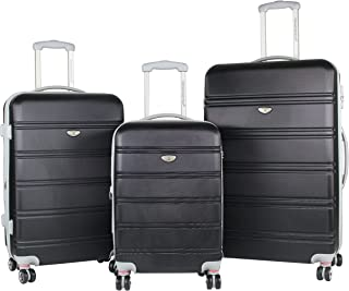 American Green Travel 3-Piece Hardside Spinner Luggage Set with TSA Lock, Black, One Size