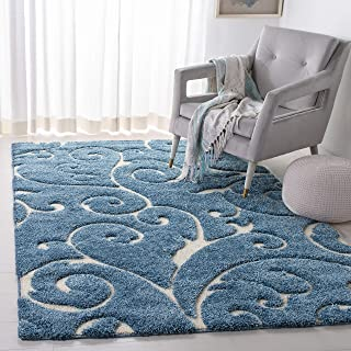 Safavieh Florida Shag Collection Scrolling Vine Light Blue and Cream Graceful Swirl Area Rug (5'3