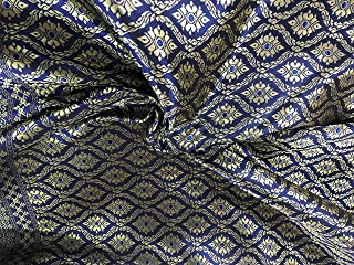 Amornphan 44 Inches Navy Blue and Gold Traditional Thai Silk Damask Fabric for Wedding Dress Skirt by The Yard