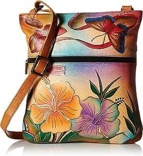 Anna Anuschka Slim Crossbody Bag | Genuine Leather | Antique Hibiscus