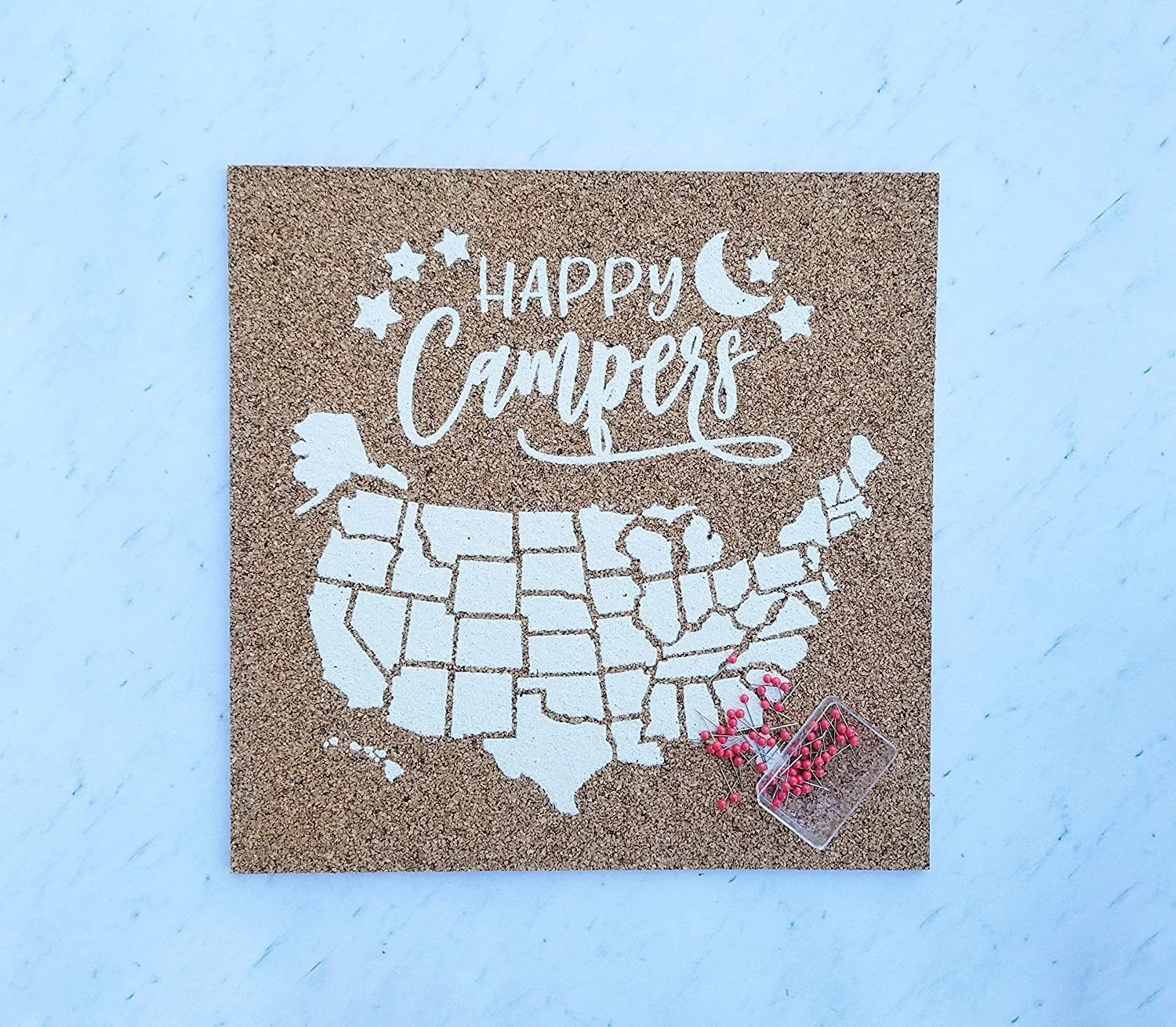 Happy Campers Push Pin Cork Travel Map the outlet United of States Wand San Antonio Mall
