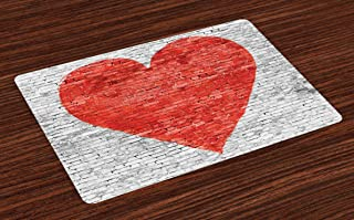 Lunarable Brick Wall Place Mats Set of 4, Love on Wall Romantic Feelings Heart Shape Street Pattern, Washable Fabric Placemats for Dining Table, Standard Size, White Grey