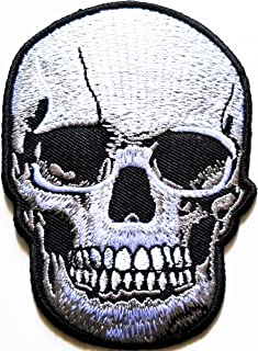 HHO Realistic Skull Dead Biker Horror Goth Punk Patch Embroidered DIY Patches Cute Applique Sew Iron on Kids Craft Patch for Bags Jackets Jeans Clothes