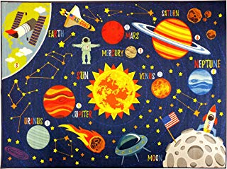 """KC CUBS Playtime Collection Space Safari Road Map Educational Learning & Game Area Rug Carpet for Kids and Children Bedrooms and Playroom (8' 2"""" x 9' 10"""")"""