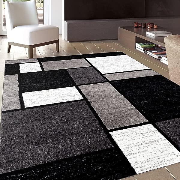 Contemporary Modern Boxes Area Rug 7 10 X 10 2 Gray