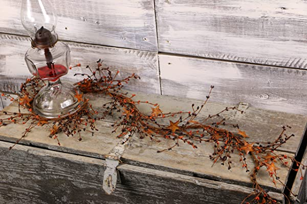 Pip Berry Garland With Rusty Stars Primitive Mix